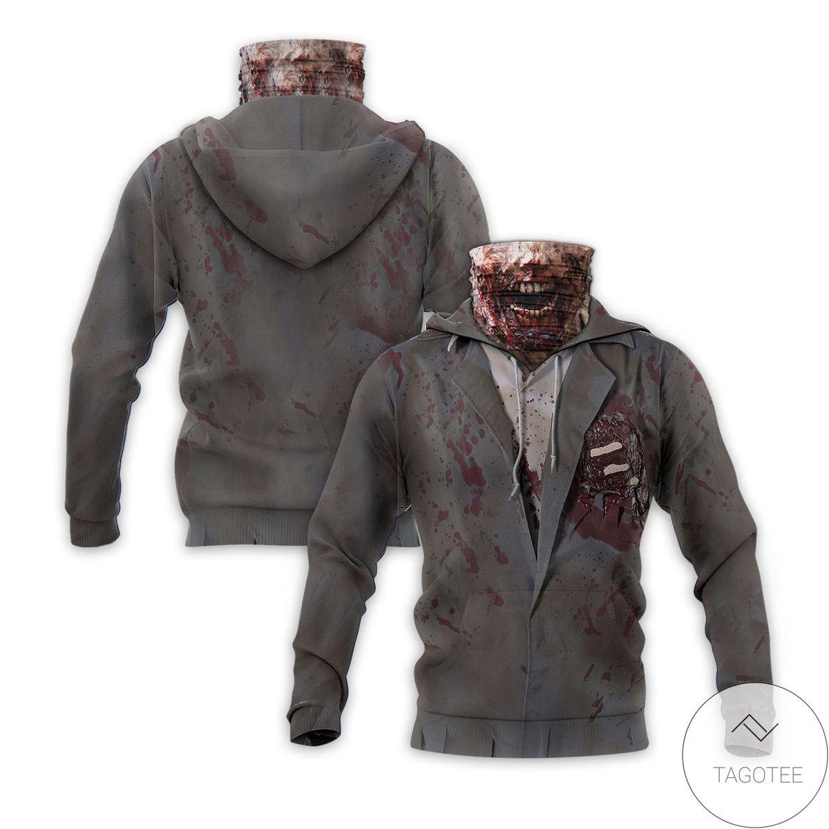 Zombie Halloween Mask Hoodie