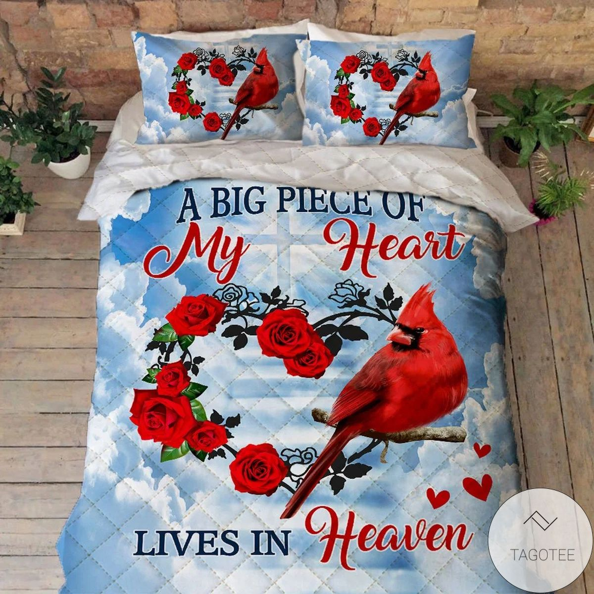 Sale Off A Big Piece Of My Heart Lives In Heaven Cardinal Quilt Bedding Set