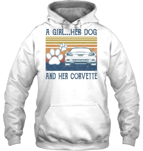 A Girl Her Dog And Her Corvette hoodie