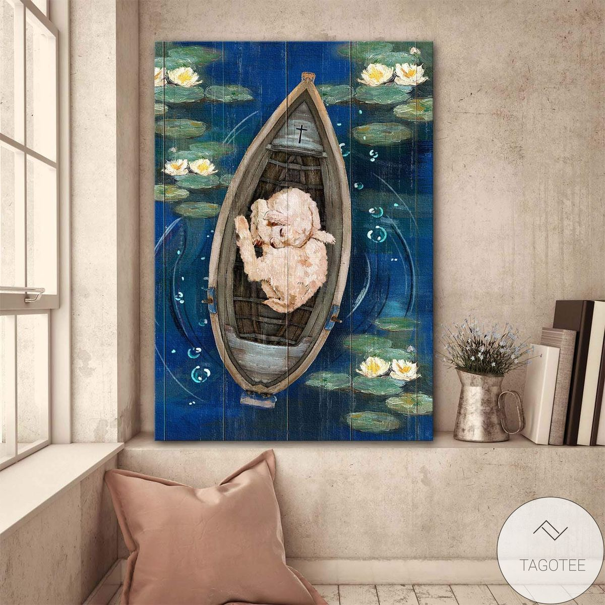 A Lovely Lamb On A Boat Jesus Canvas