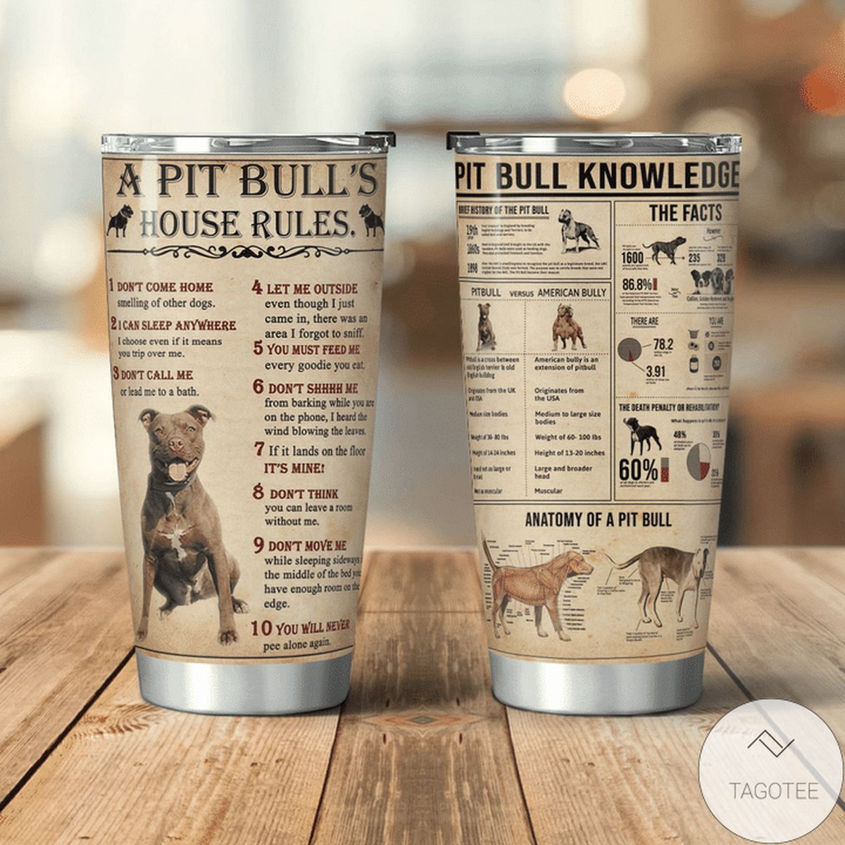 Very Good Quality A Pit Bulls House's Rules Pit Bulls Knowledge Tumbler