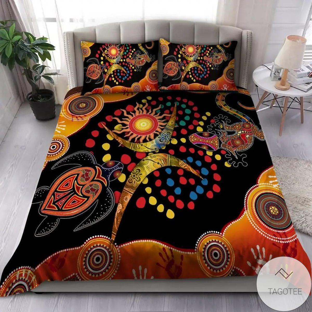 Aboriginal Australia Turtles Orange Bedding Set