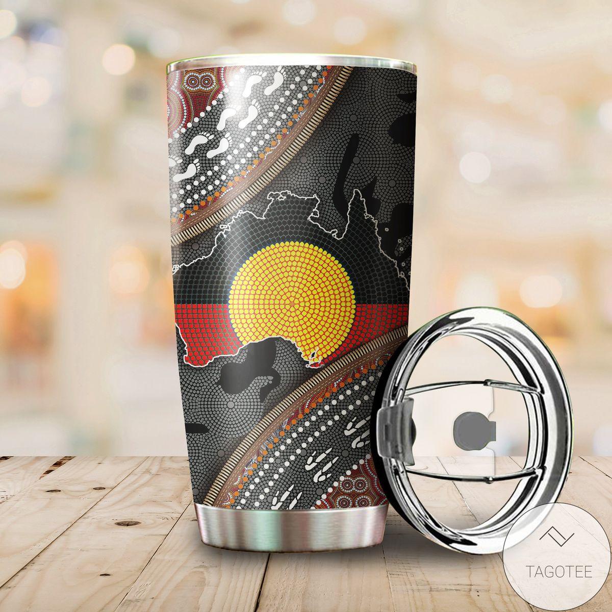 Aboriginal Dots Zip Pattern 3d Stainless Steel Tumbler