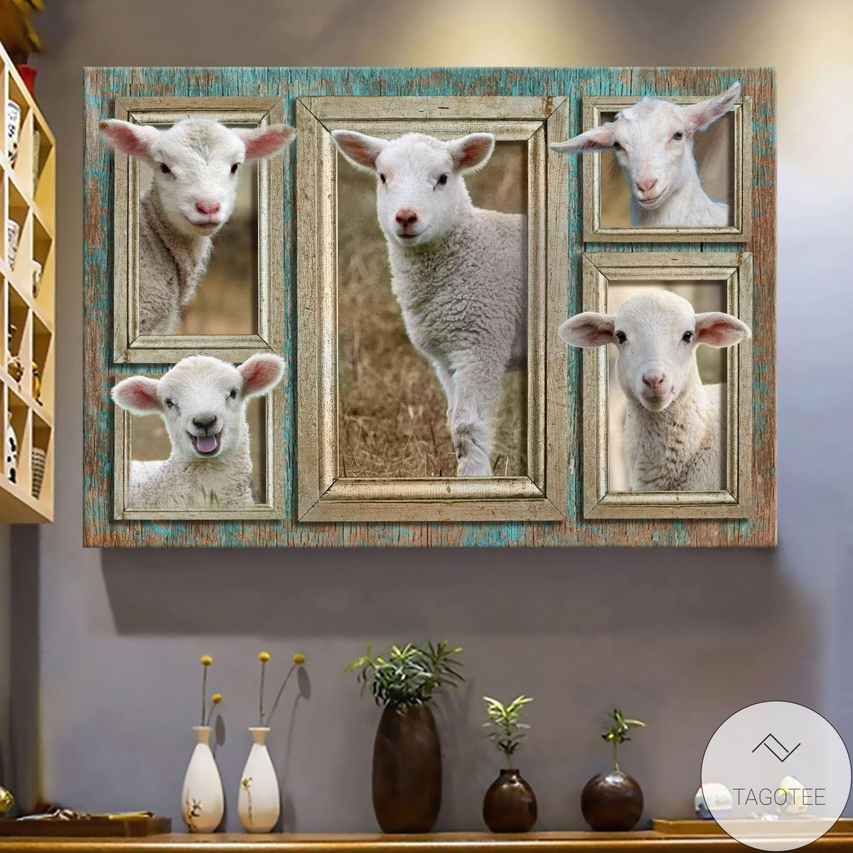 Adorable Lamb In Frame Pictures Canvas