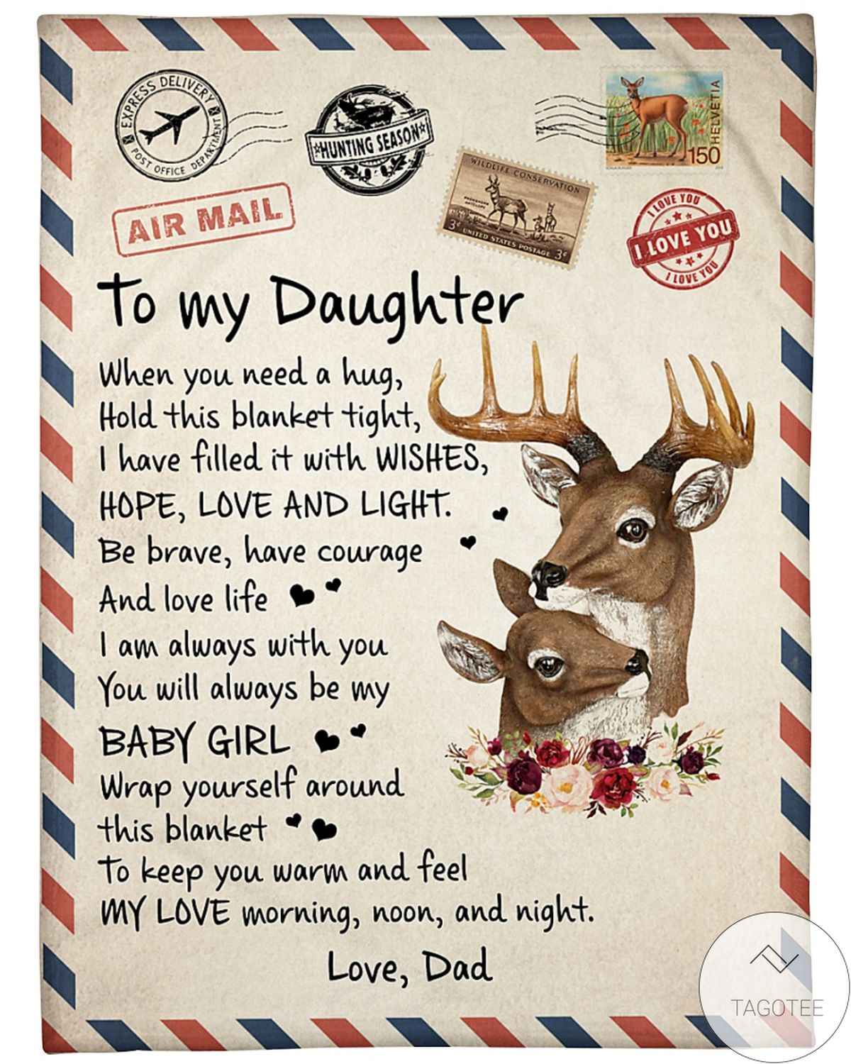 Air Mail To My Daughter You Will Always Be My Baby Girl Fleece Blanket