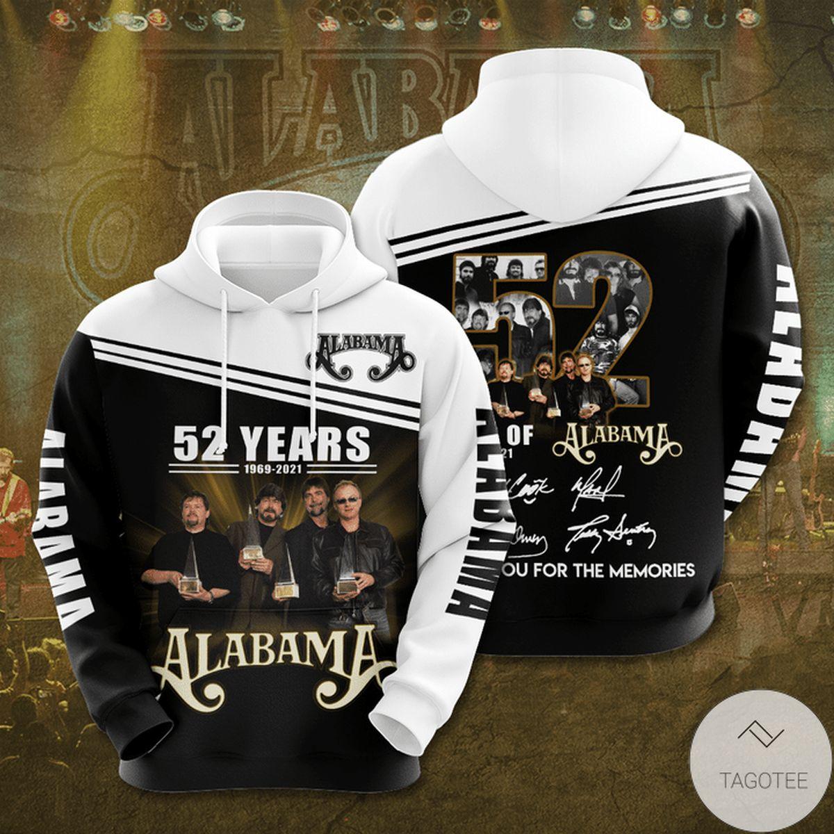 Alabama 52 Years Anniversary 1969-2021 3d Hoodie