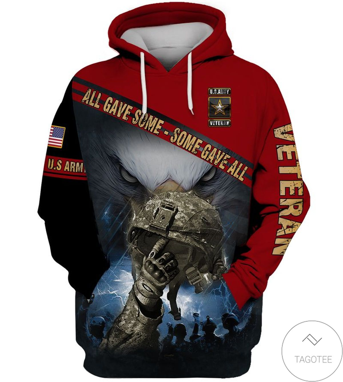 All Gave Some Some Gave All US Army Veteran Red Hoodie