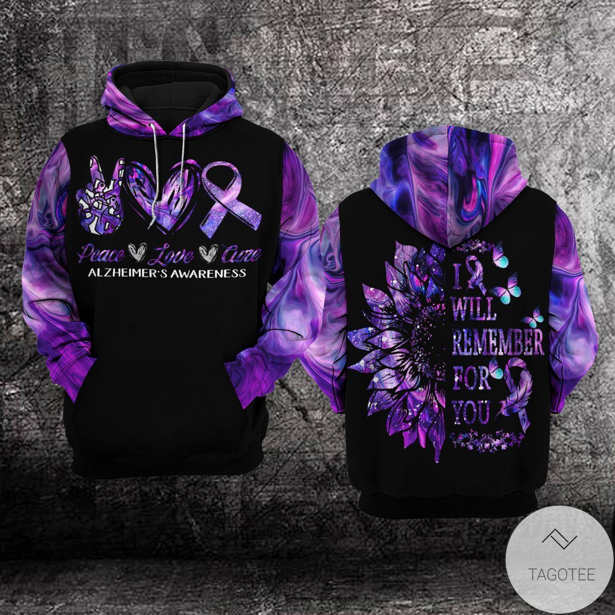 Alzheimer's Awareness Peace Love Cure Hoodie