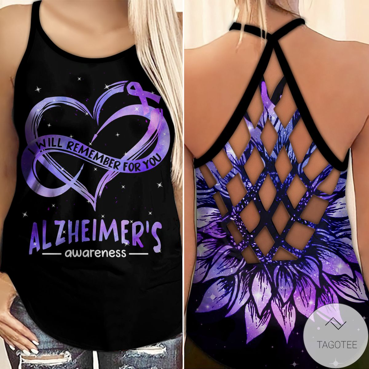 Alzheimer's Awareness Summer I Will Remember For You Criss Cross Tank Top