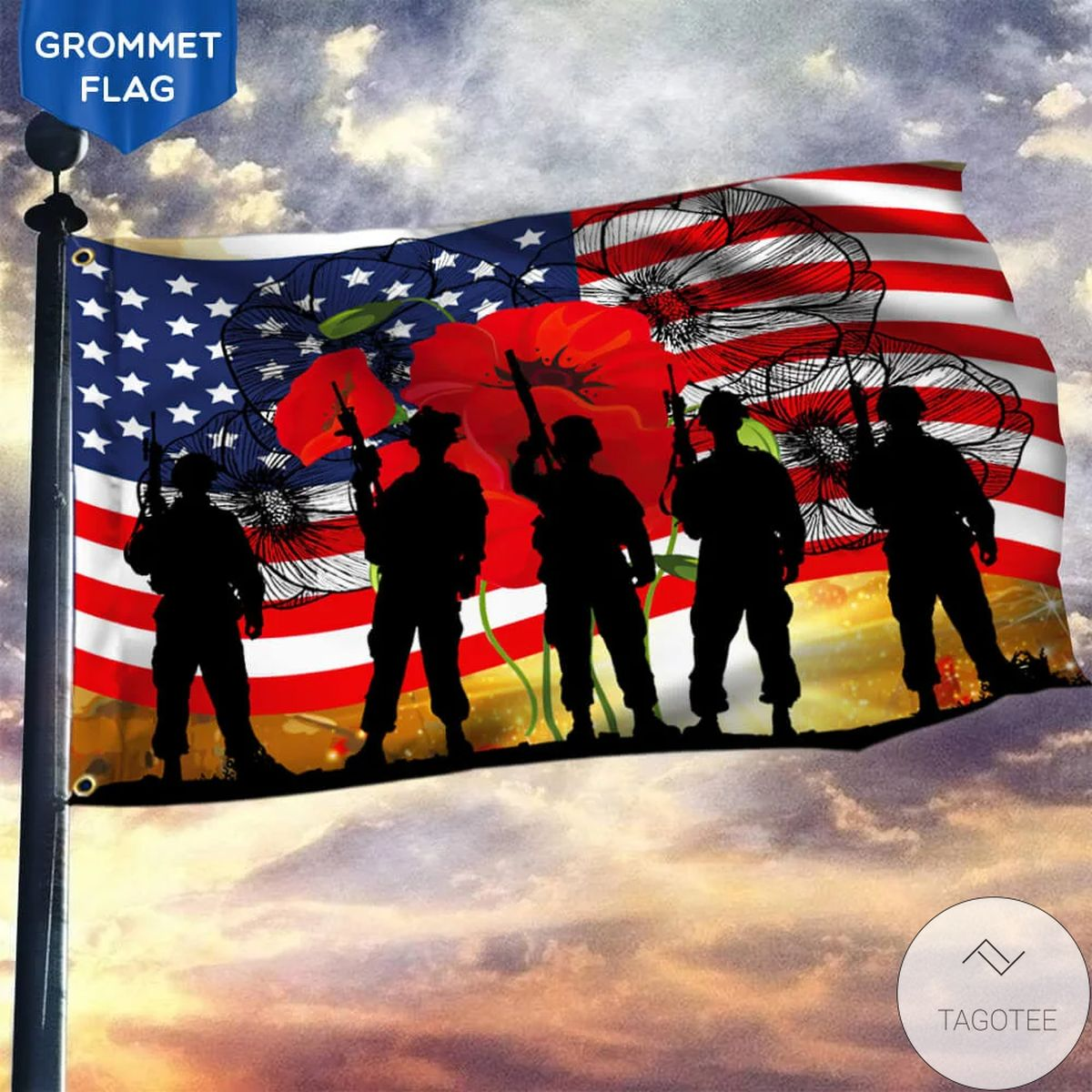 America Veteran Poppy Remembrance Flag