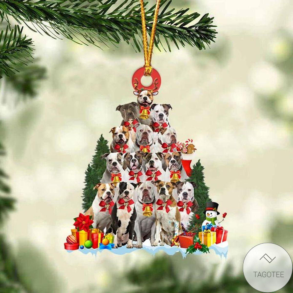 American Bulldog Dog Christmas Tree Ornament