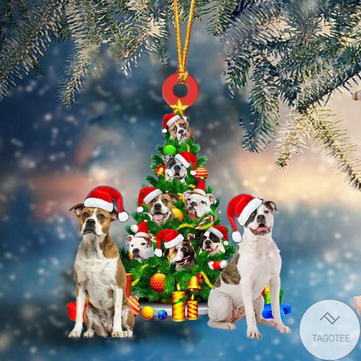 American Bulldogs Dog Christmas Tree Ornament