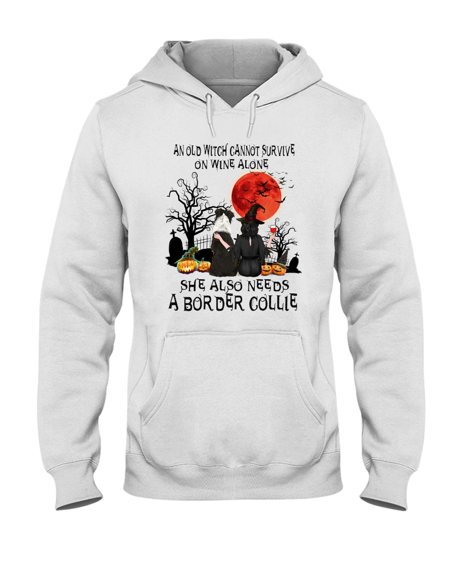 An old witch cannot survive on wine alone She also needs a Border Collie hoodie