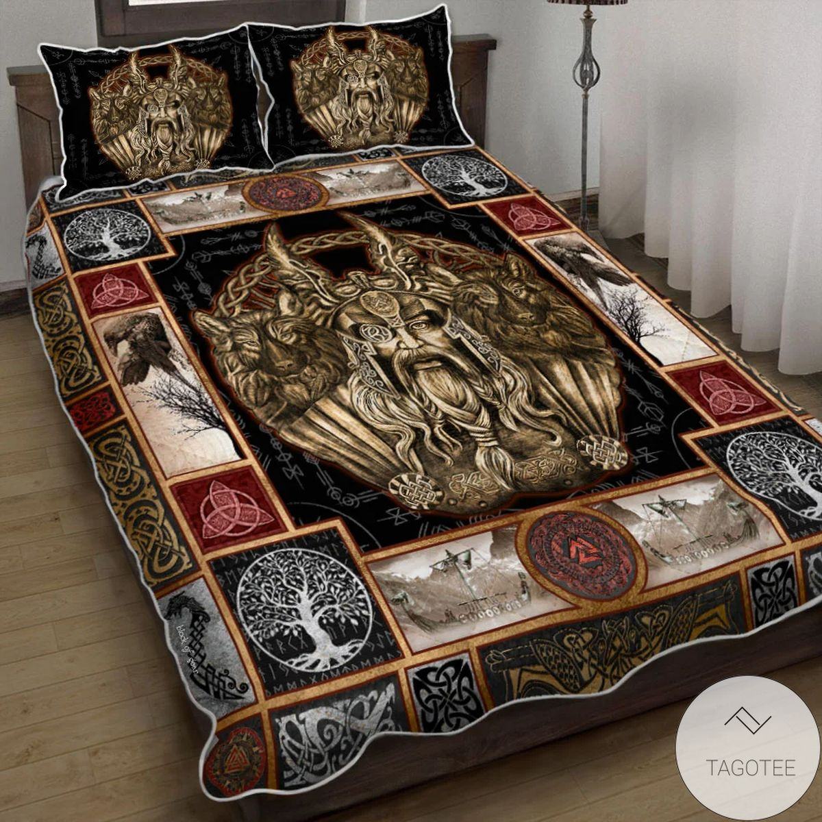 Ancient Treasures Geri and Freki Nordic Wolves Quilt Bedding Set