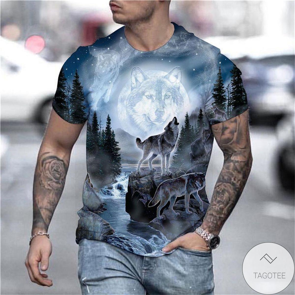 Animal Art 3d Graphic Printed Short Sleeve Shirt