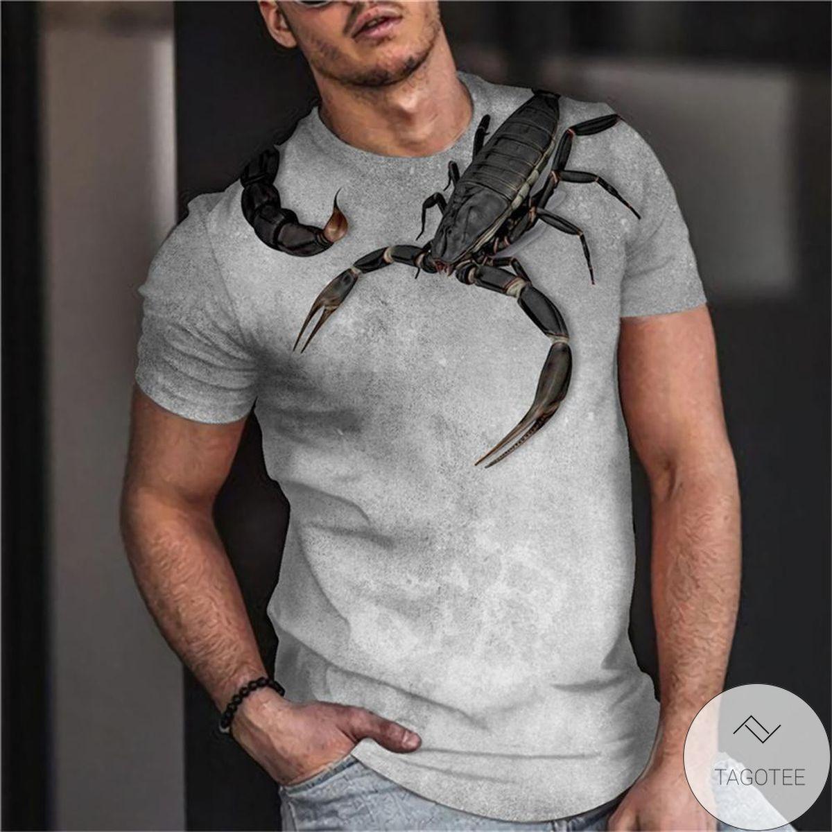 Where To Buy Animal Print Scorpion 3d Graphic Printed Short Sleeve Shirt