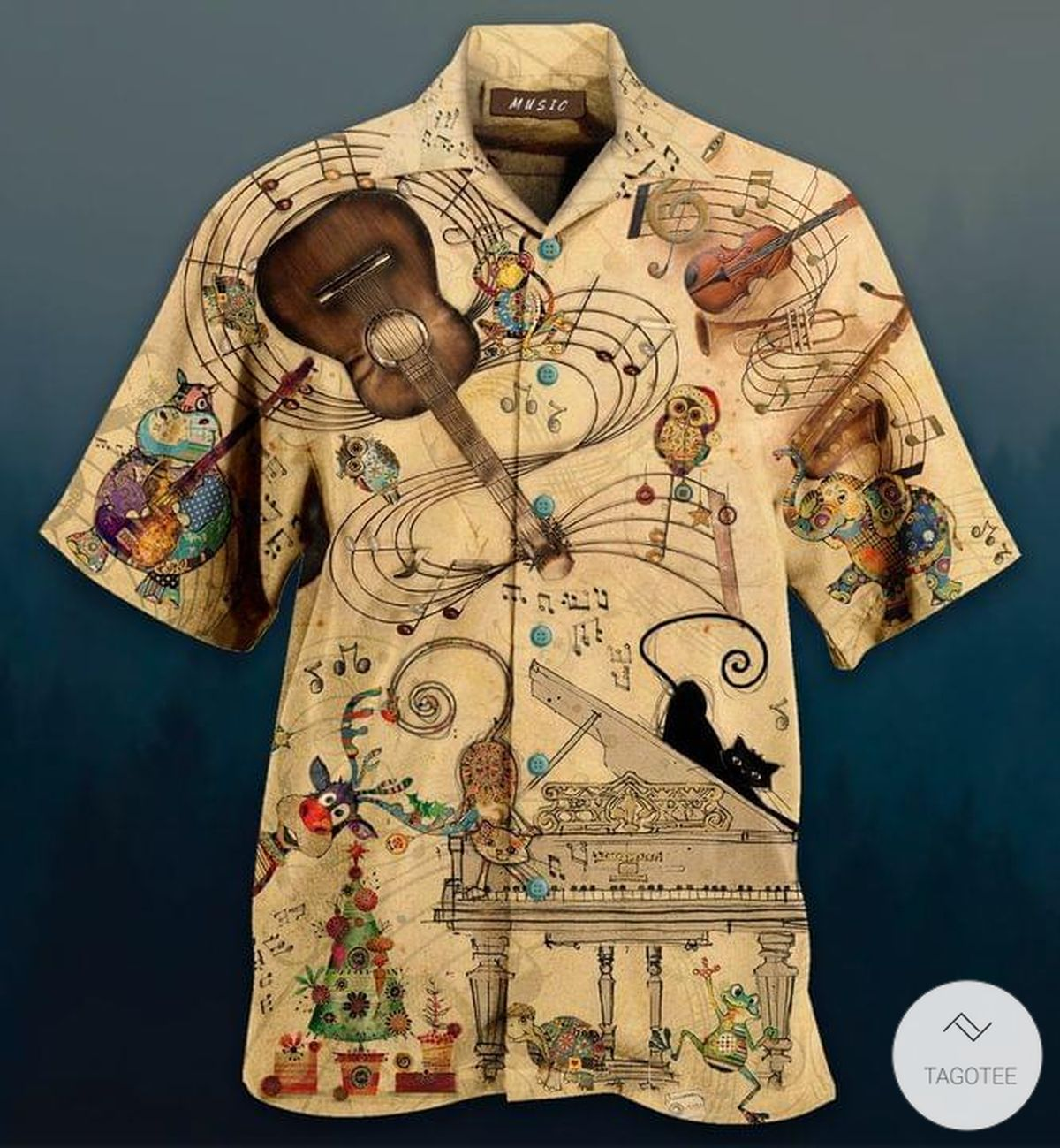 Animals With Musical Instruments Hawaiian Shirt