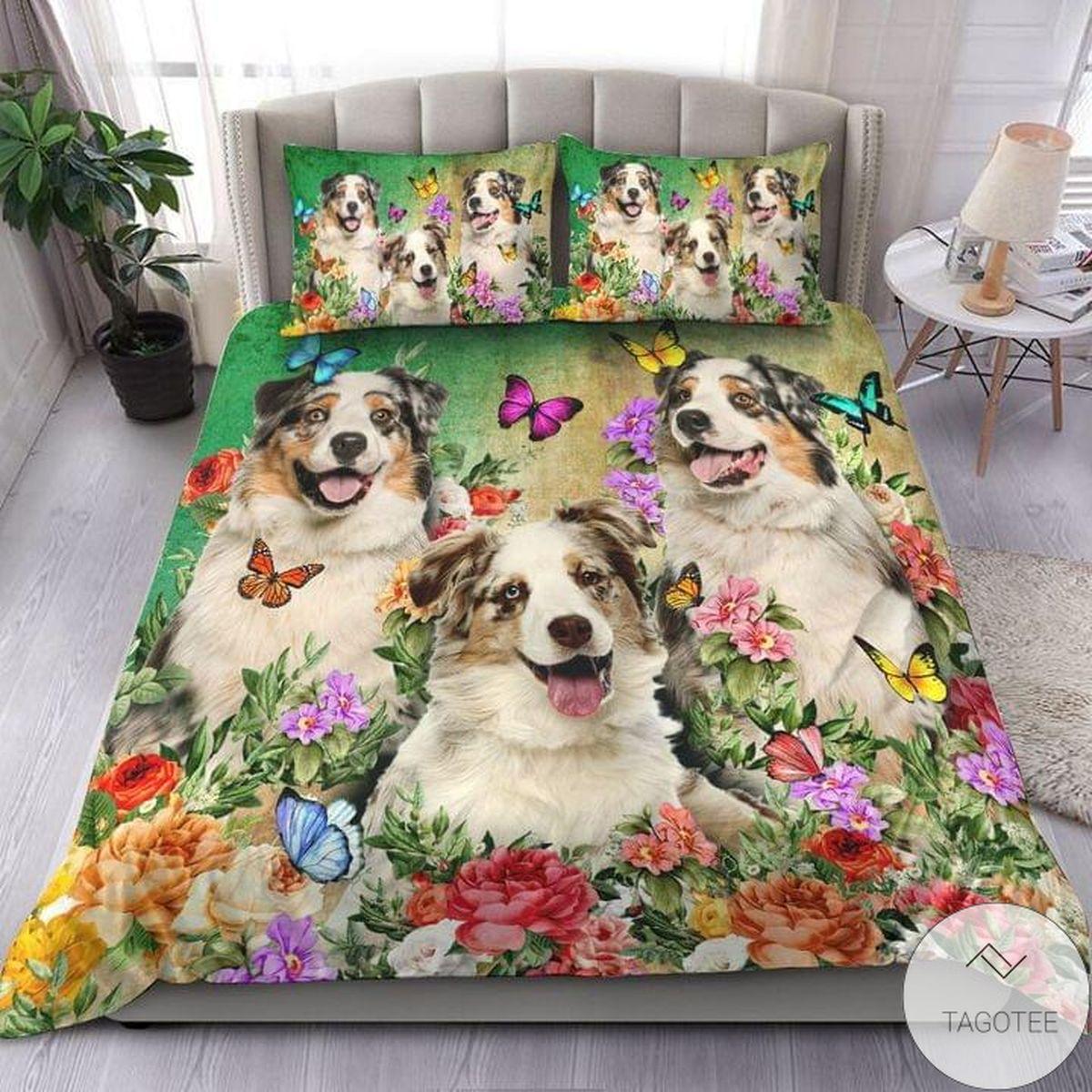 Australian Shepherd Beautiful Flower Bedding Set