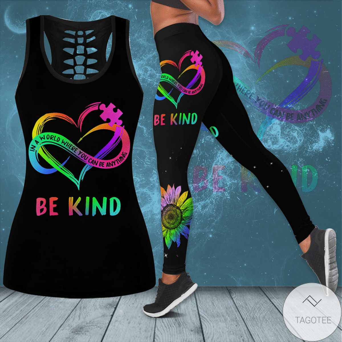 Autism Awareness In A World Where You Can Be Anything Be Kind Hollow Tank Top & Leggings Set