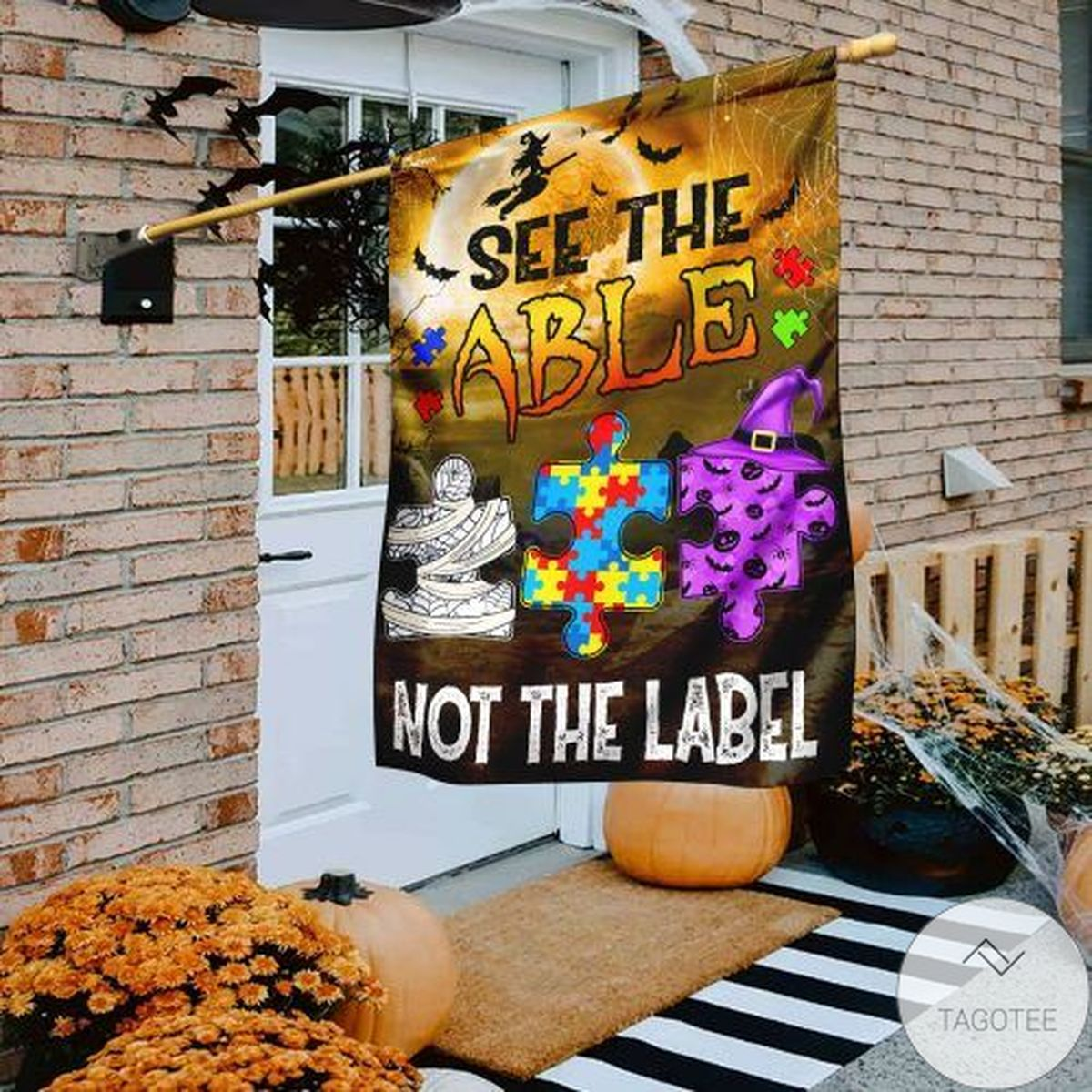Autism Awareness See The Able Not The Label Halloween Flag