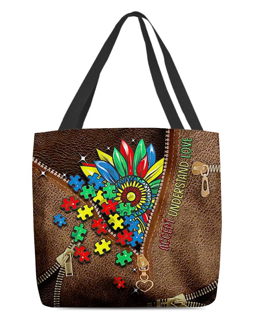 Autism Puzzle Piece Accept Understand Love Sunflower tote bag