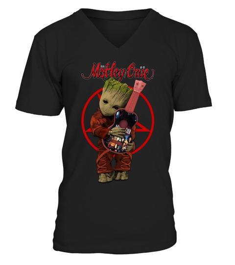 Baby Groot Hug Mötley Crüe V-neck