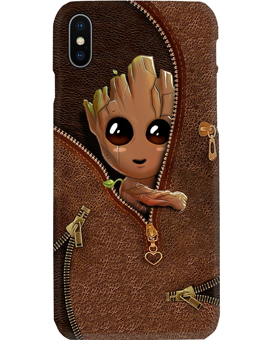 Baby Groot as Leather Zipper phone case