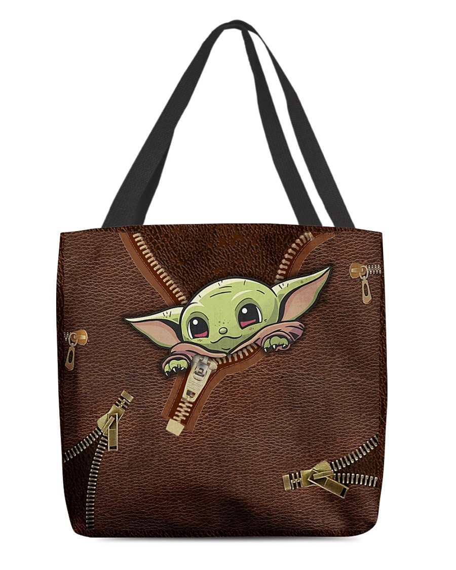 Baby Yoda Leather Zipper All Over Print Tote Bag