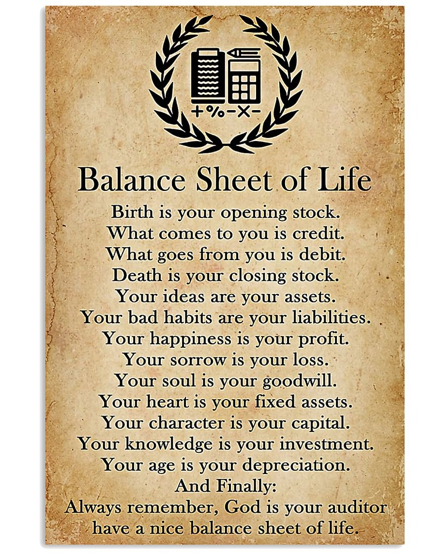 Balance Sheet Of Life Birth is your opening stock poster4