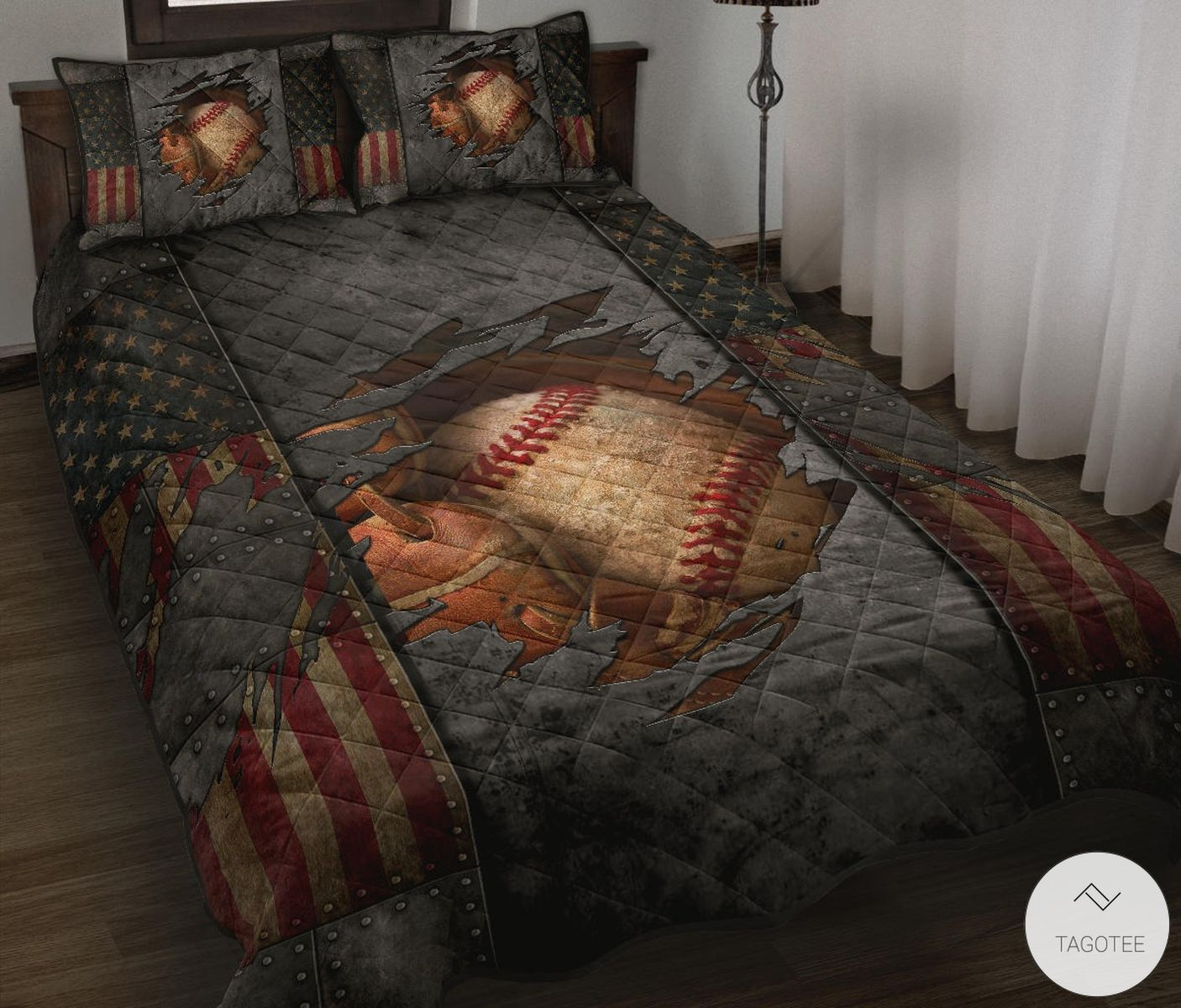 Baseball Crack Flag Quilt Bedding Set