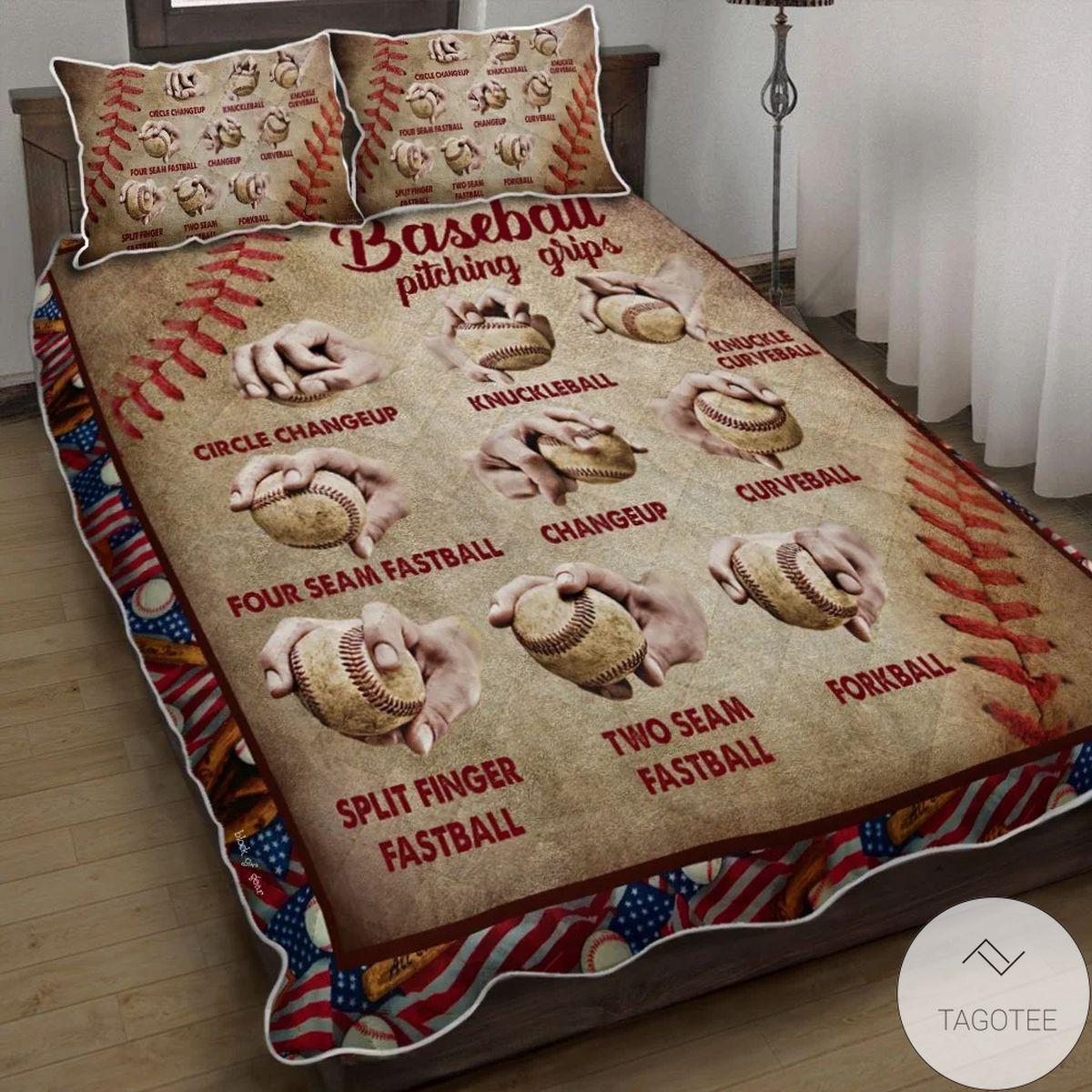 Baseball Pitching Grips Quilt Bedding Set