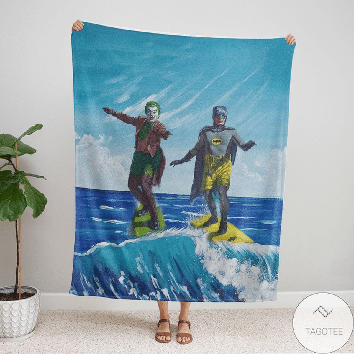Batman And Joker Surfing Duel Fleece Blanket