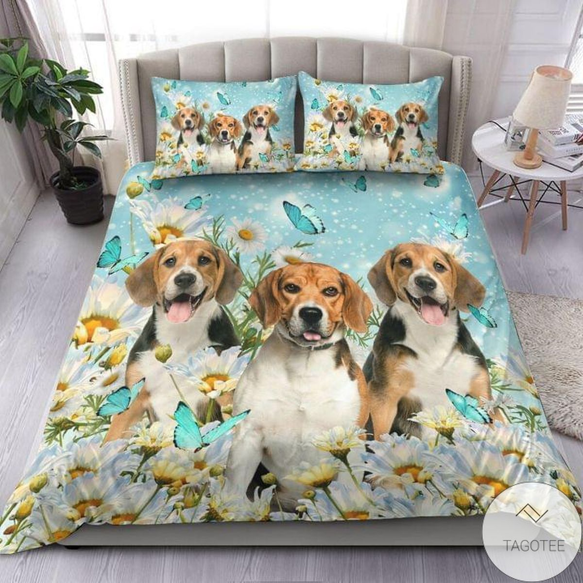 Beagle White Daisy Bedding Set
