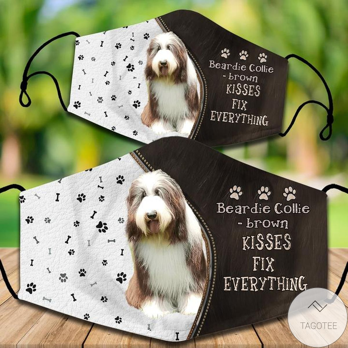 Sale Off Bearded Collie - Brown Kisses Fix Everything Face Mask