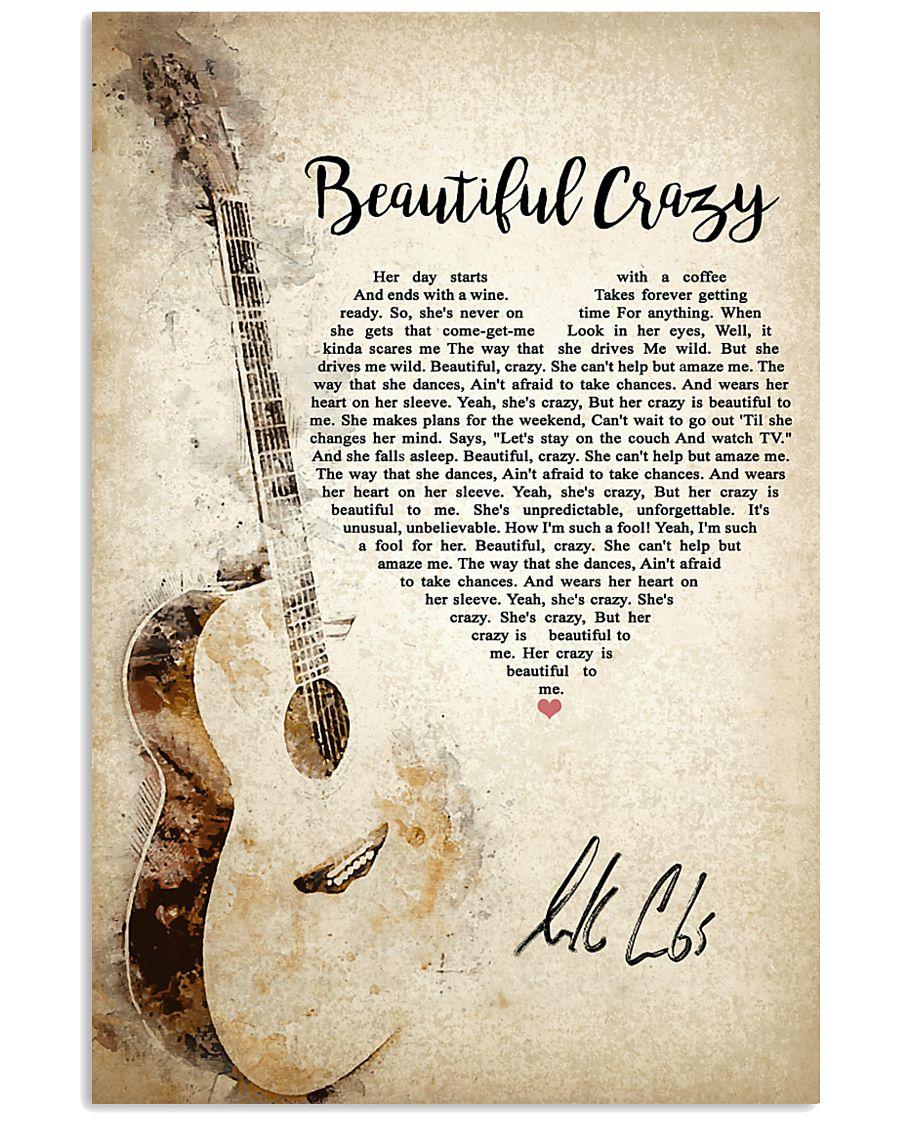 Beautiful Crazy Lyrics in heart shape poster
