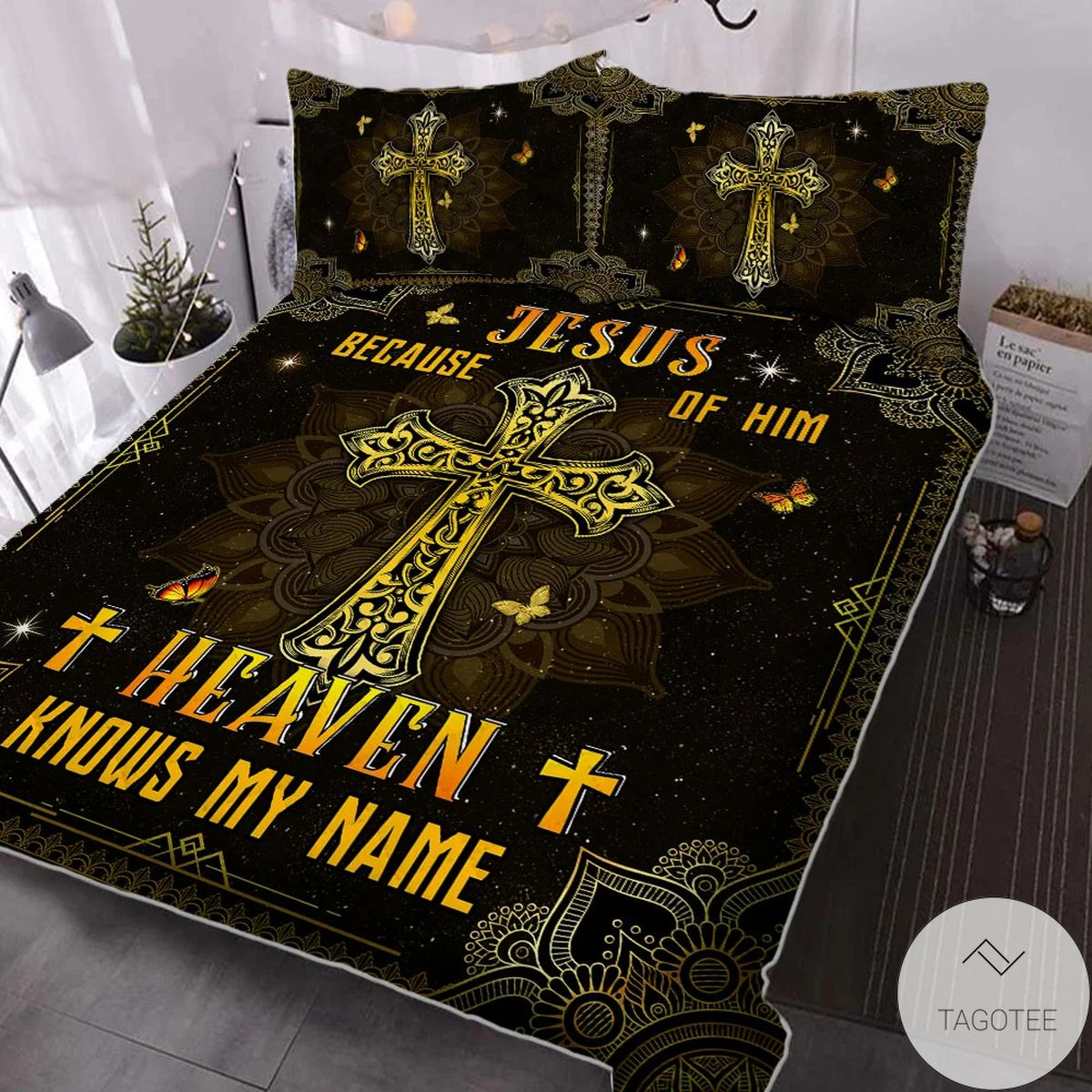 Best Shop Because Of Him Heaven Knows My Name Jesus Bedding Set