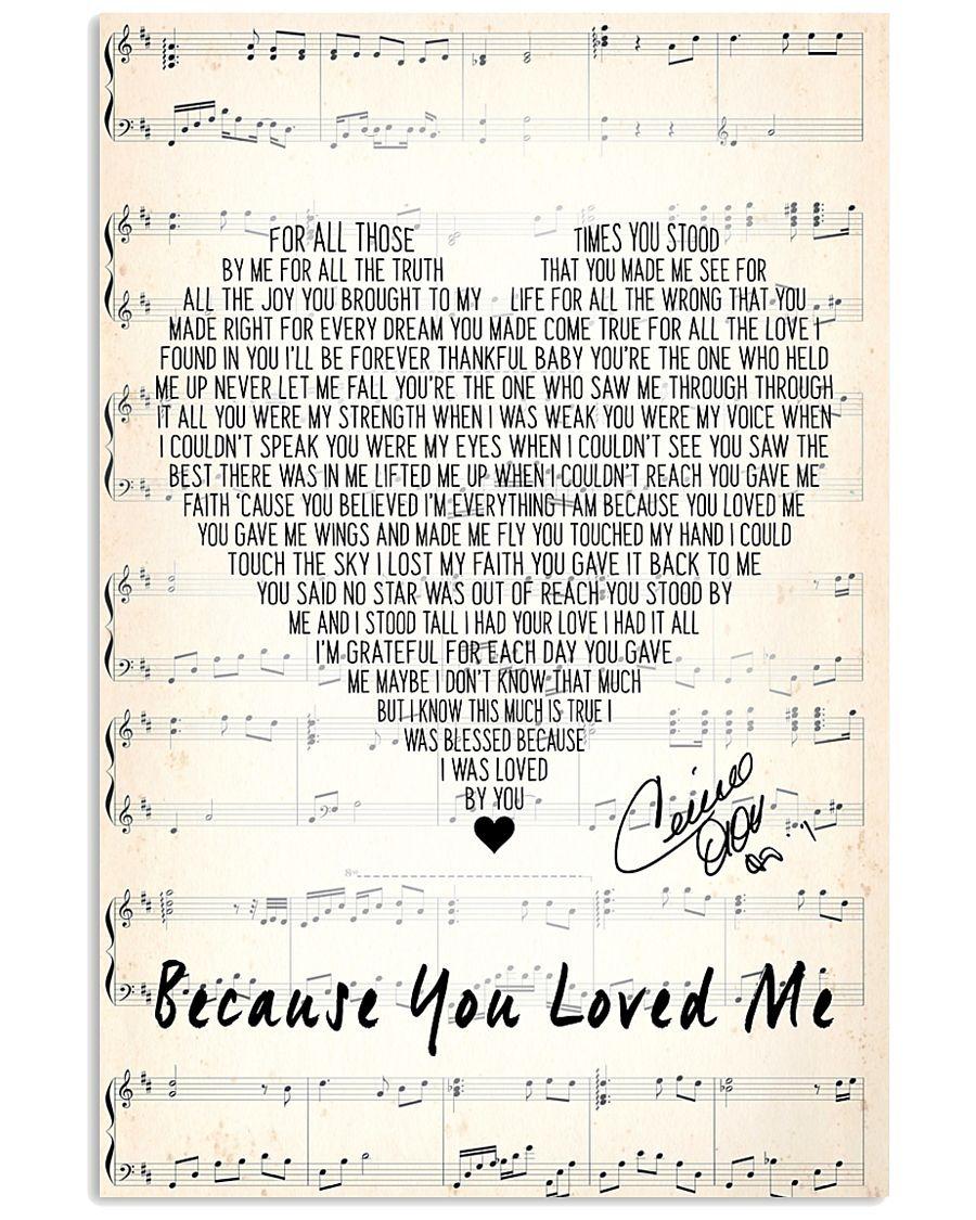 Because you loved me lyrics Celine Dion poster