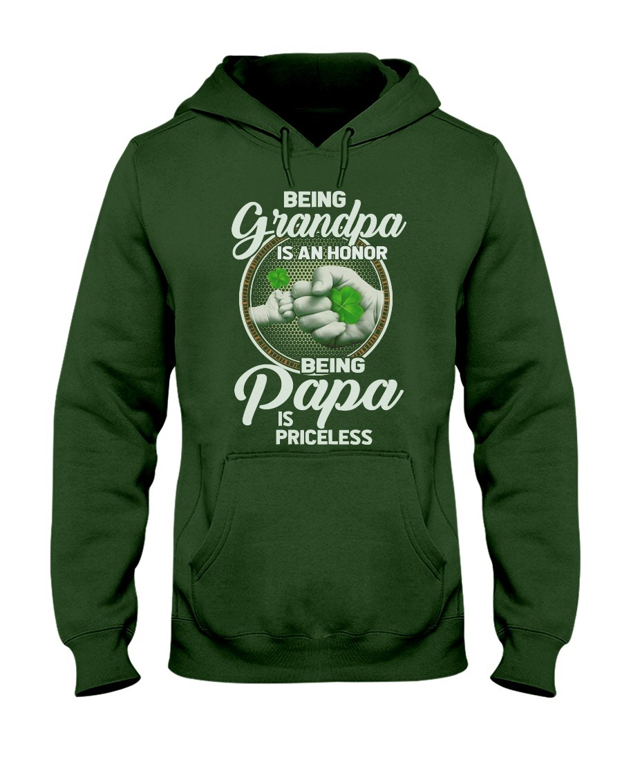 Being Grandpa is an honor being papa is priceless Four leaf clover hoodie