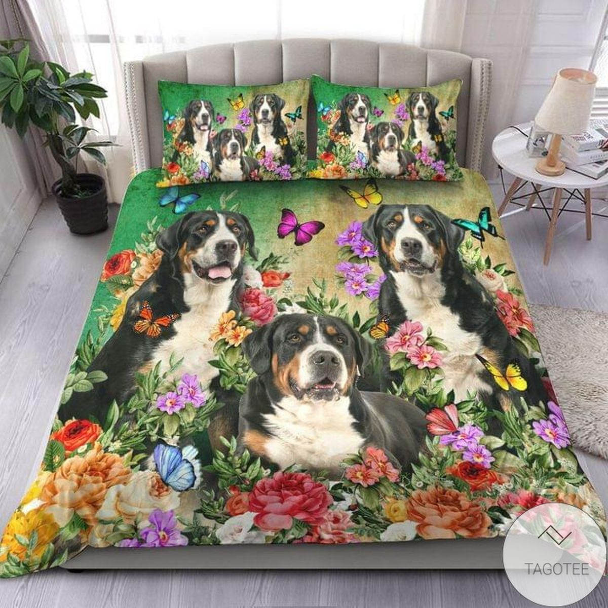 Bernese Mountain Dog Beautiful Flower Bedding Set