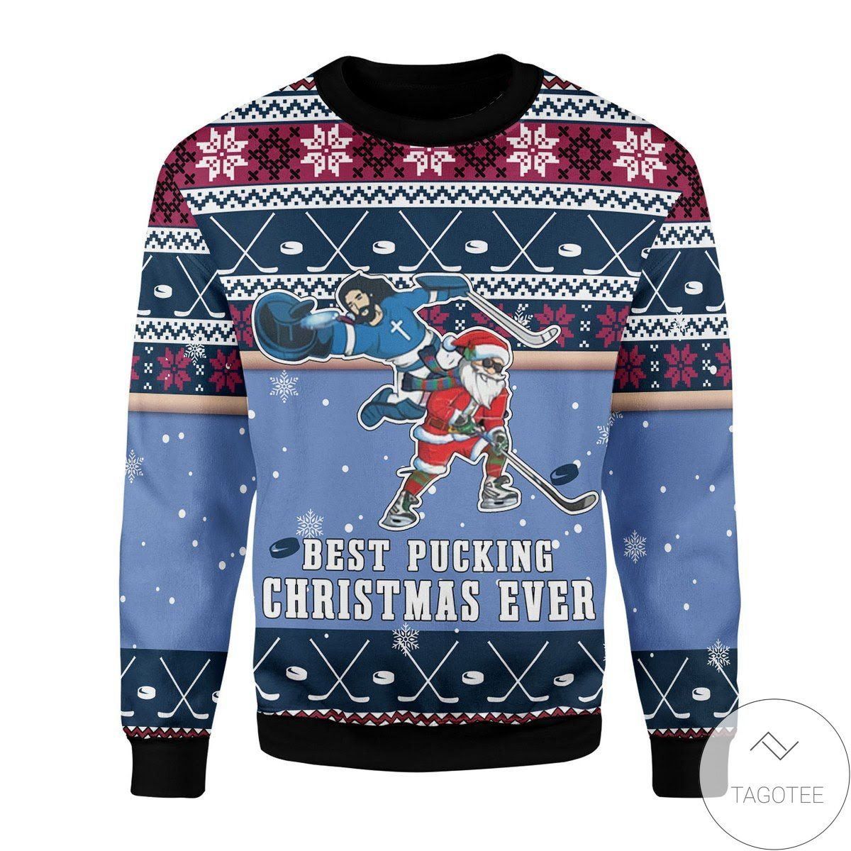 Best Pucking Christmas Ever Jesus And Santa Claus Ugly Christmas Sweater