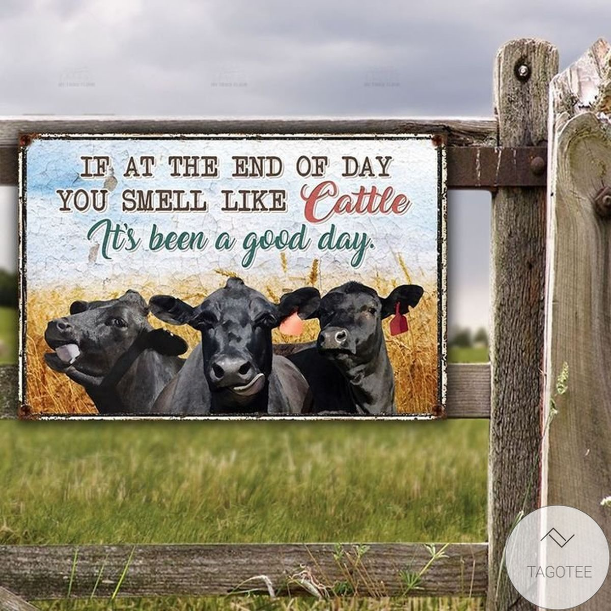 Black Angus Cattle Lovers Good Day Metal Sign