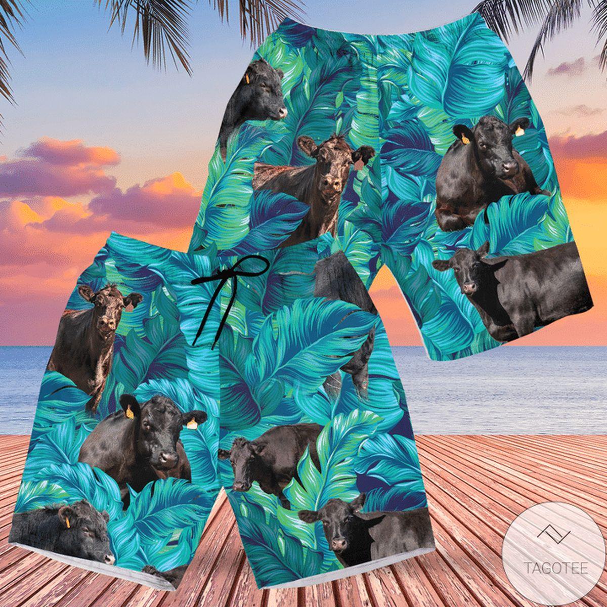 Black Angus Cattle Lovers Hawaiian Swim Trunks Beach Shorts