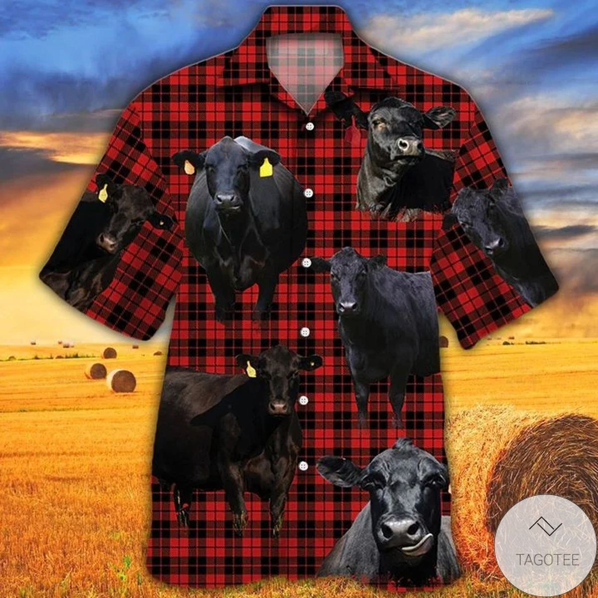 Black Angus Cattle Lovers Red Tartan Pattern Hawaiian Shirt