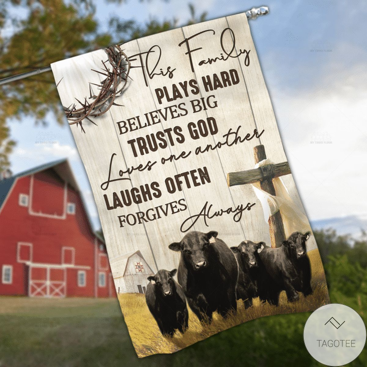 Black Angus Cattle Lovers This Family Garden And House Flag