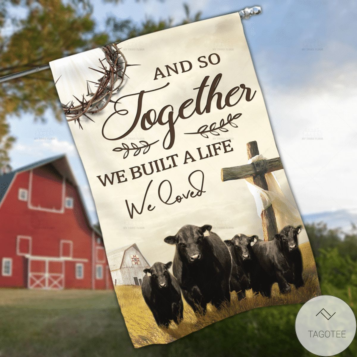 Black Angus Cattle Lovers Together Garden And House Flag