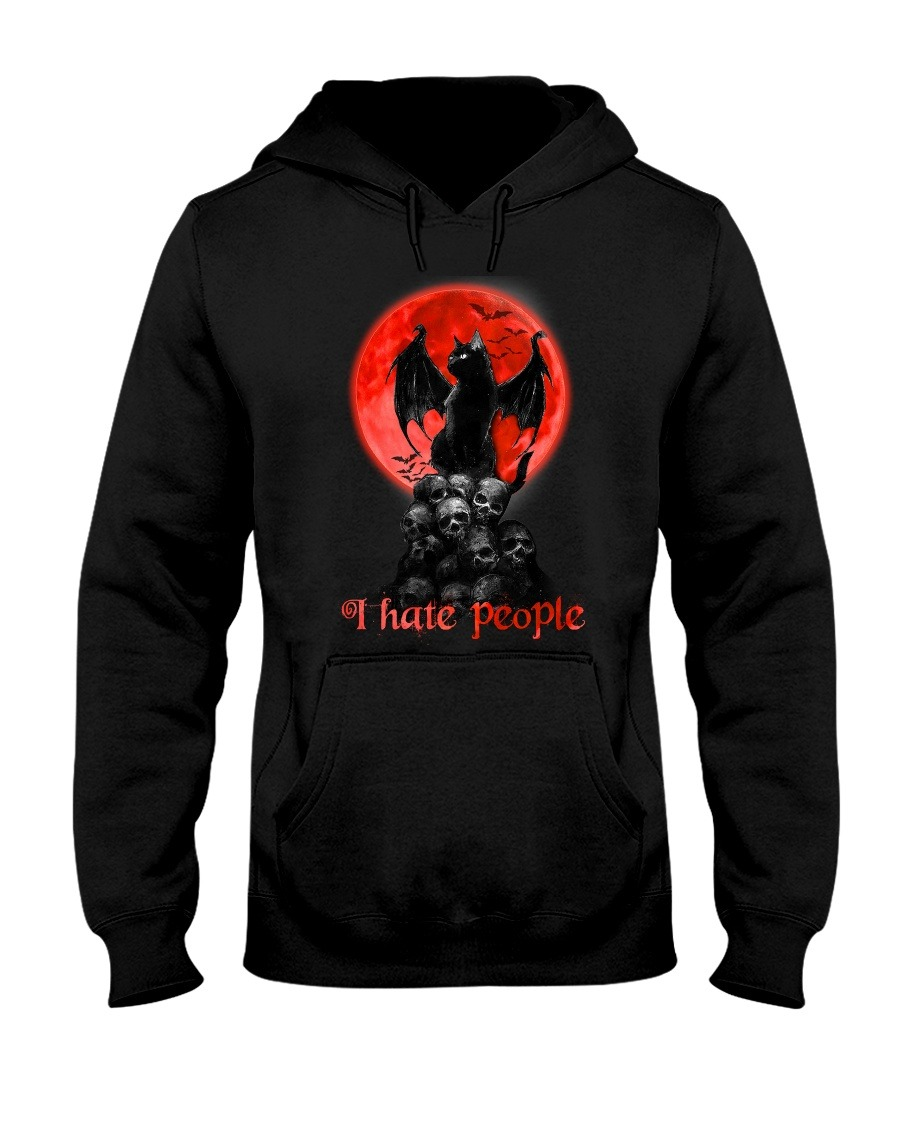 Black Cat And Blood Moon I hate people hoodie