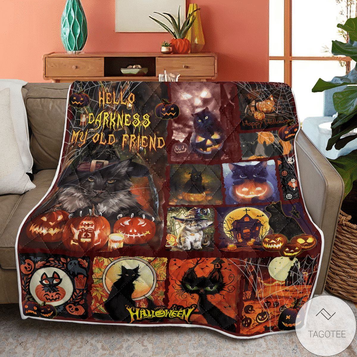 Where To Buy Black Cat Hello Darkness My Old Friend Halloween Quilt
