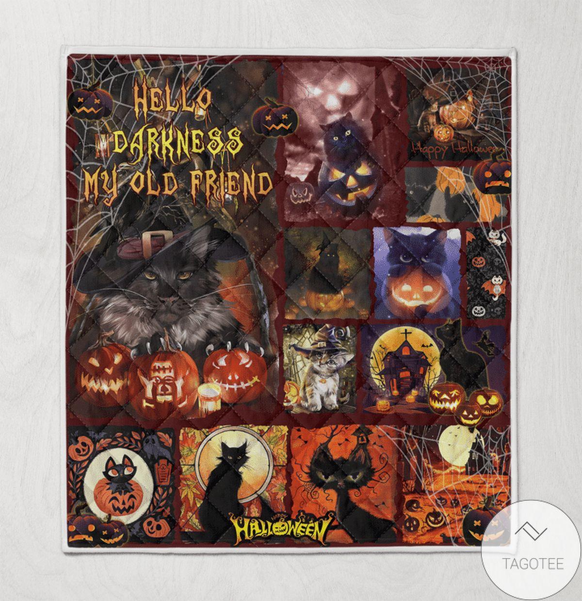 Black Cat Hello Darkness My Old Friend Halloween Quilt