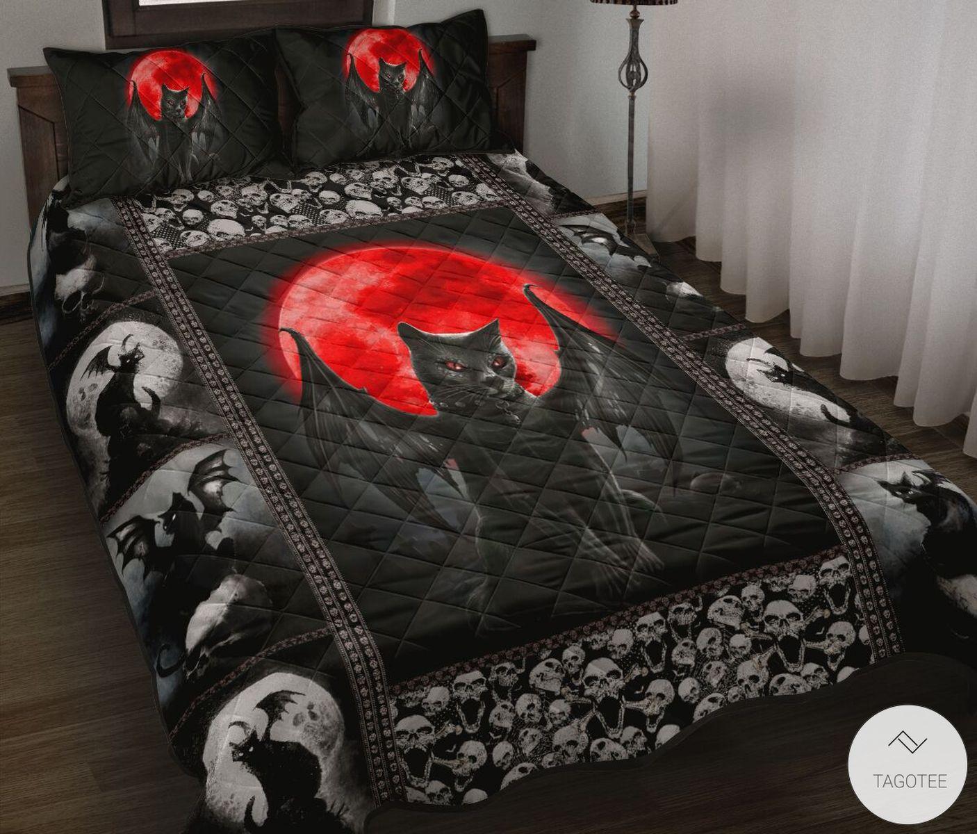 Black Cat Hello Darkness Quilt Bedding Set