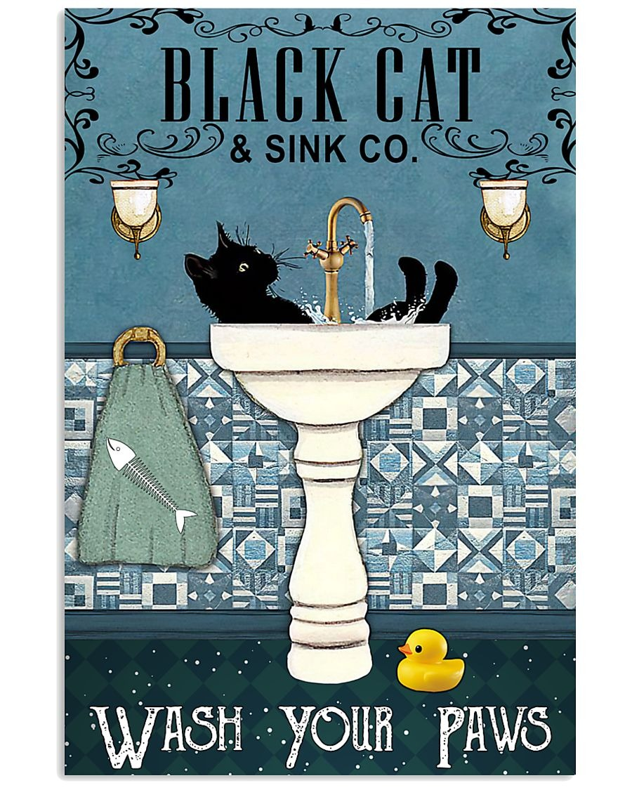 Black Cat and Sink Company Wash your paws poster